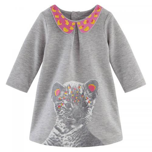 Billie Blush - Robe brodée molleton pailleté imprimé bébé tigre fille  Billieblush - Gris - Vêtements 806a1b15f34