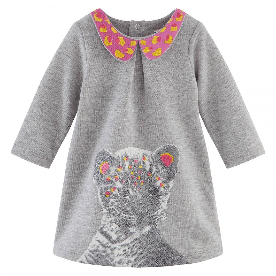 f486c9f56bfe4 Robe brodée molleton pailleté imprimé bébé tigre fille Billieblush - Gris Billie  Blush Enfant