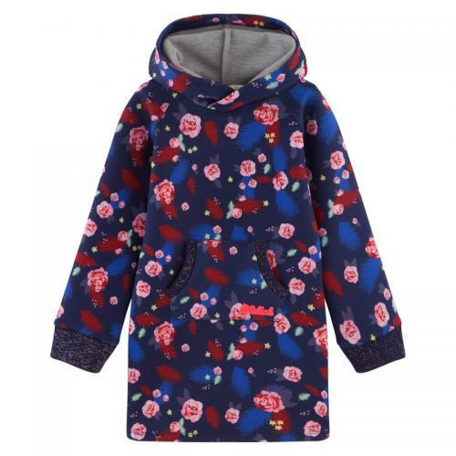 Billie Blush - Robe sweat à capuche en néoprène motif fleurs fille Billieblush - Multicolore - Promos Enfant