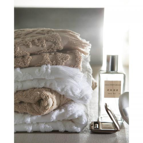Maxi drap de bain coton ciselé 550 grm² Princesse Blanc des Vosges - Blanc