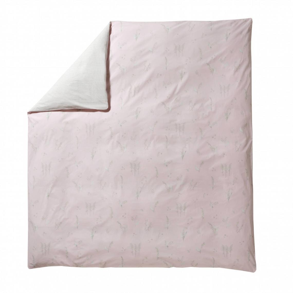 17b190bb102135 Housse de couette percale de coton imprimé Lily poudre Blanc des ...