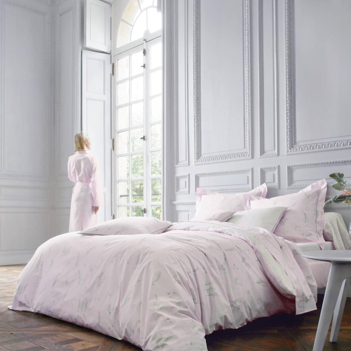 Housse De Couette Percale De Coton Imprime Lily Poudre Blanc Des