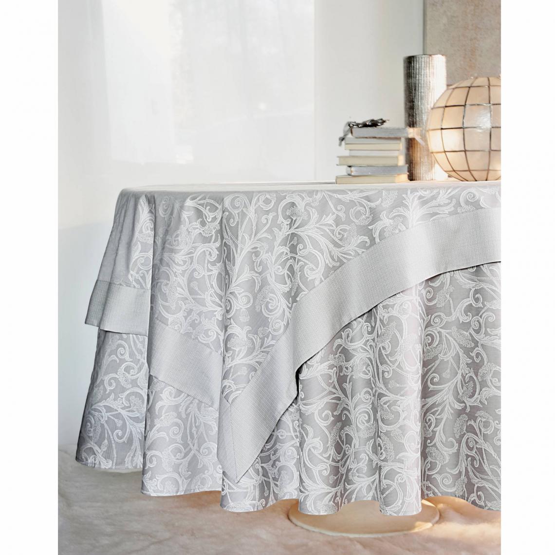 Chemin De Table Coton Jacquard Ombelle Blanc Des Vosges Gris 3