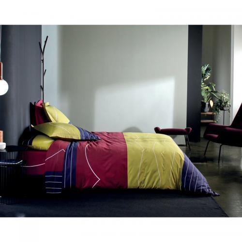 housse de couette 1 ou 2 personnes coton imprim ping pong blanc des vosges bordeaux 3suisses. Black Bedroom Furniture Sets. Home Design Ideas