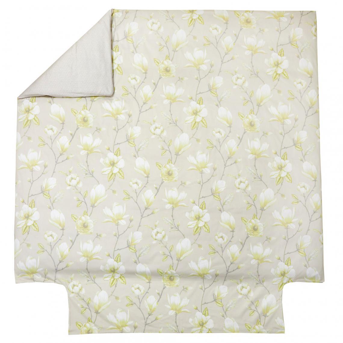 Housse de couette 1 ou 2 personnes satin de coton imprimé Marly Blanc des Vosges - Vert 8YnRT