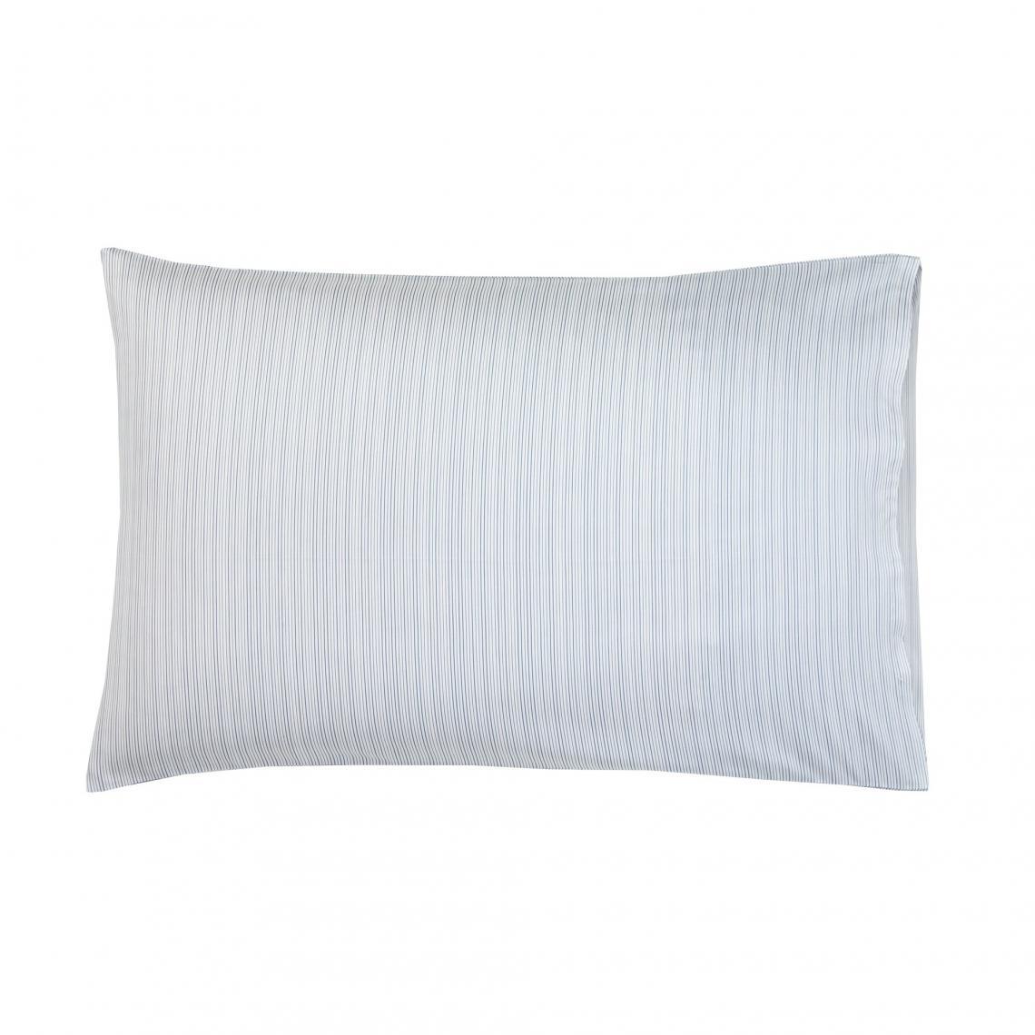 Taie d'oreiller ou de traversin satin de coton imprimé Zig Zag Blanc des Vosges - LOT hLeTh