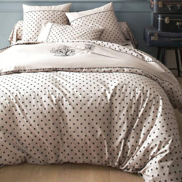 Housse de couette coton imprimée pois avec broderies MA Bouchara Collection - Marron Bouchara Collection Linge de maison