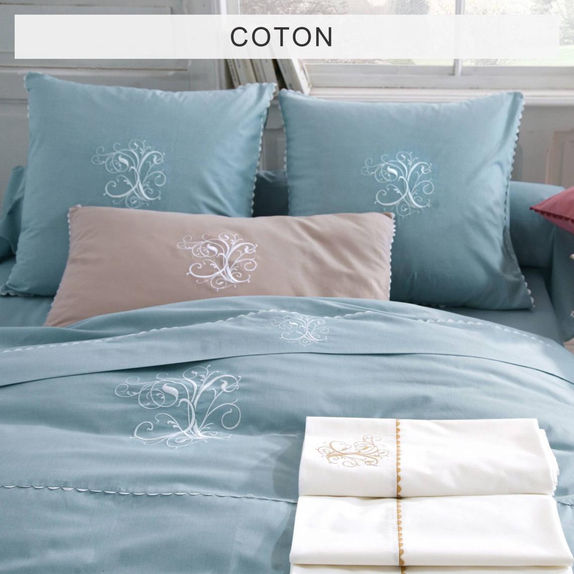 housse de couette pur coton bouchara collection ma bleu. Black Bedroom Furniture Sets. Home Design Ideas