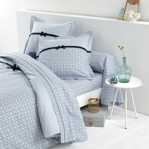 Bouchara Collection - Drap plat coton imprimé Cami Bouchara - Bleu - Draps plats