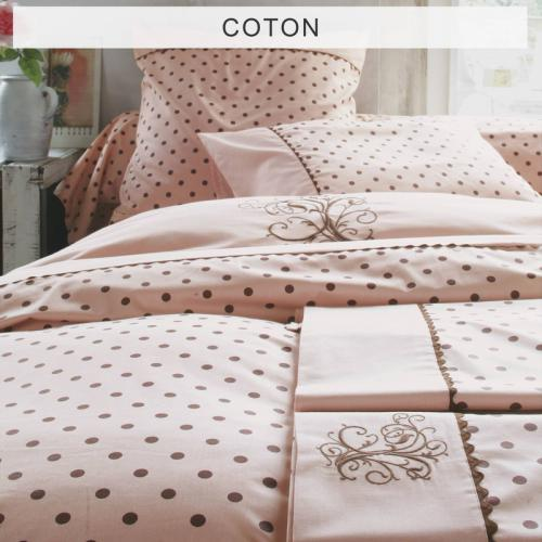 Bouchara Collection - Drap 1 ou 2 personnes pur coton MA pois de Bouchara Collection - Rose - Linge de maison