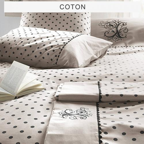 Bouchara Collection - Drap 1 ou 2 personnes pur coton MA pois de Bouchara Collection - Marron - Toutes les Promos
