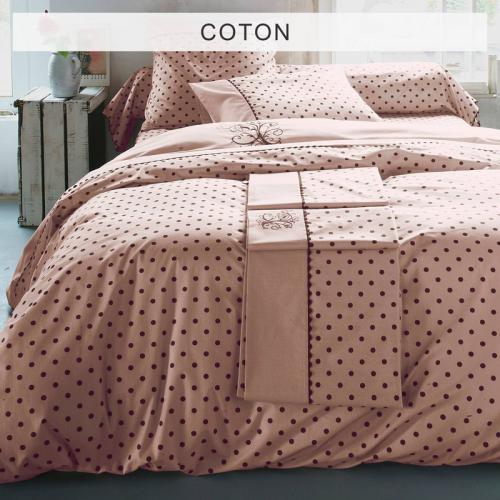 Bouchara Collection - Housse de couette coton imprimée pois avec broderies MA Bouchara Collection - Rose - Linge de maison