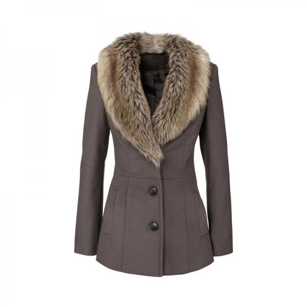 Manteau d'hiver en laine, uni, col à rabat | 3 SUISSES