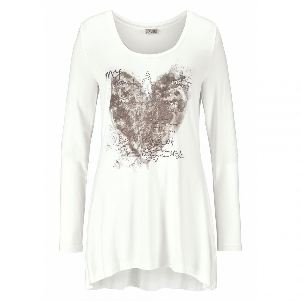 Shirt Long Imprimé Femme Rond T Longues Col Blanc Manches Boyzen's xBQWCrdoe