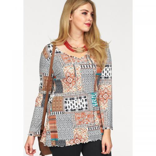 Boysen's - T-shirt long col rond manches longues imprimé patchwork femme BoyzeN's - Multicolore - Promotions