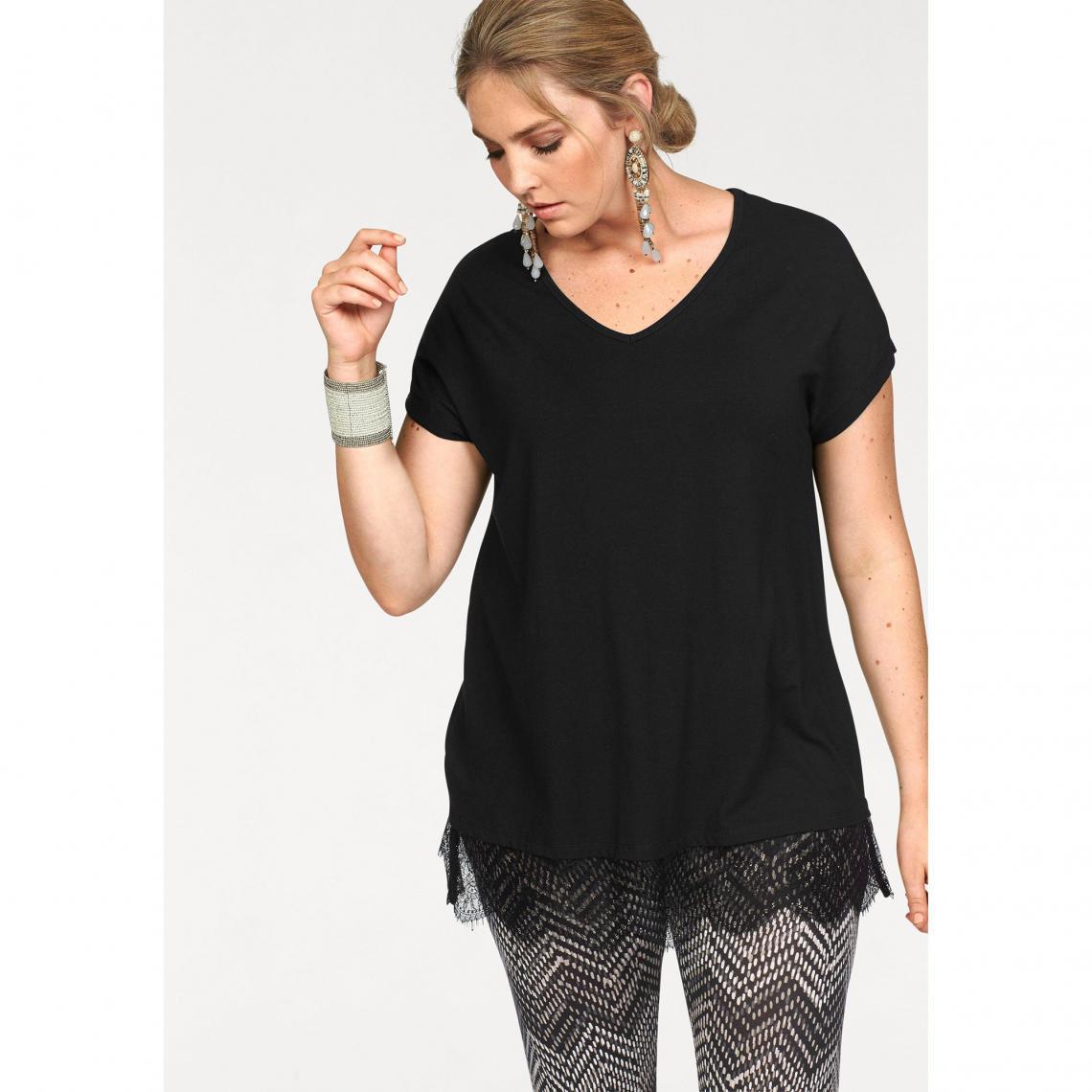 06390a68be34a T-shirt long manches courtes bas en dentelle femme Boysen - Noir | 3 ...
