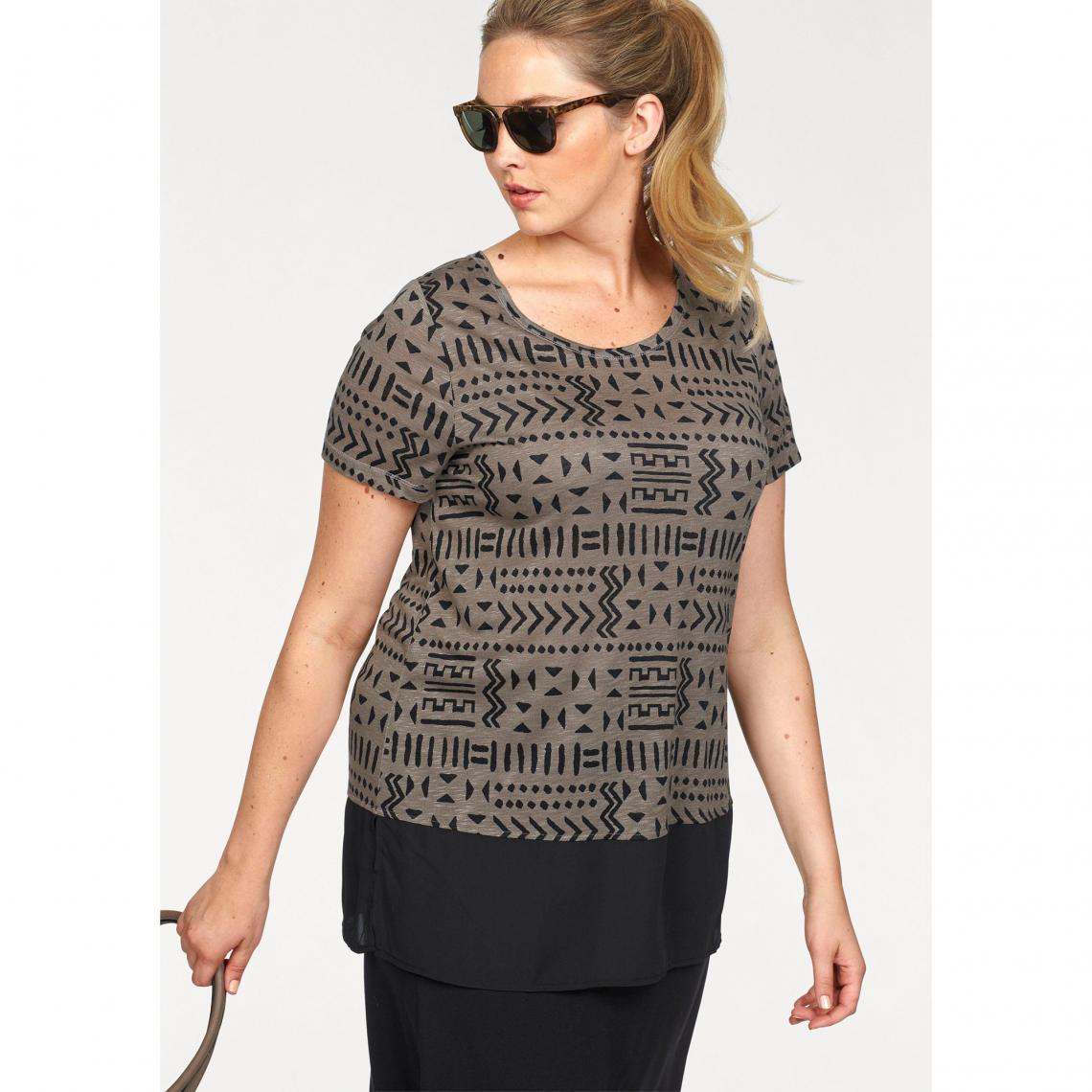 c713b56334cd1 T-shirt long ethnique manches courtes femme Boysen - Marron | 3 SUISSES