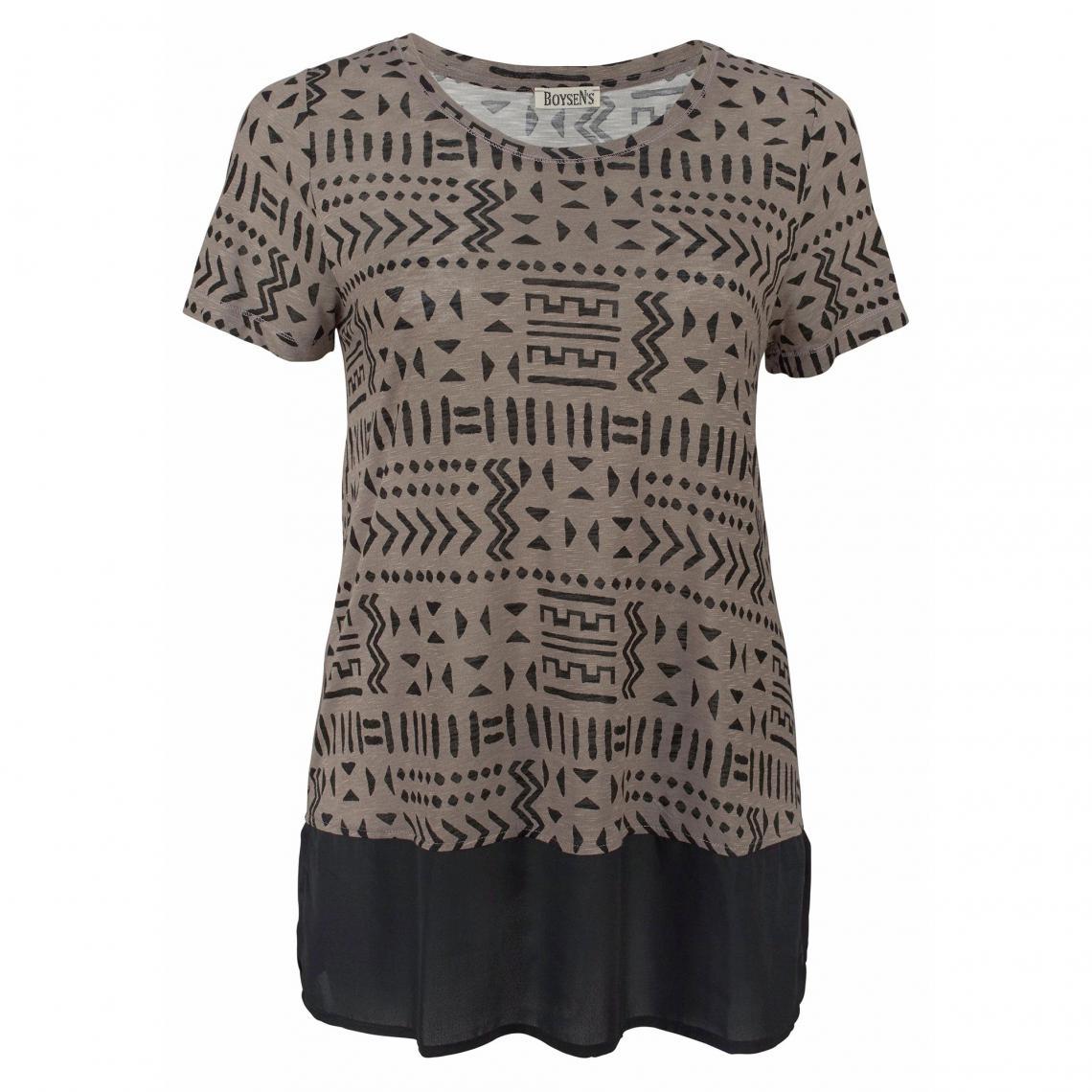 T-shirt long ethnique manches courtes femme Boysen - Marron M3ygE