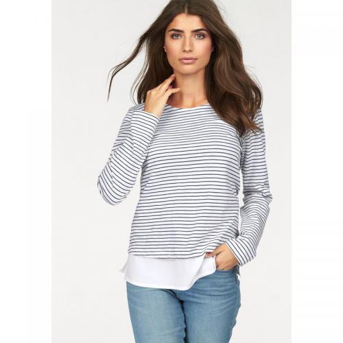 088c43e582bc Boysen s - T-shirt marinière col rond manches longues effet 2 en 1 femme  Boysen s