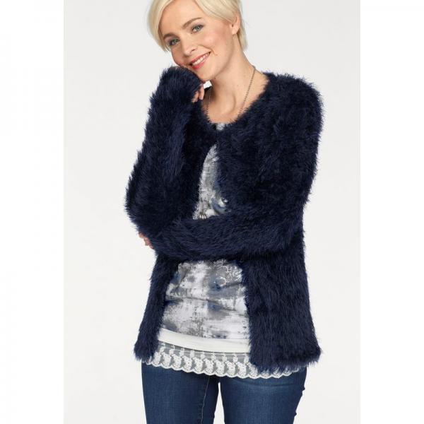 check-out f77f7 c23e0 Gilet ouvert maille poilue avec laine femme Boysen's - Bleu 1 avis 3/5