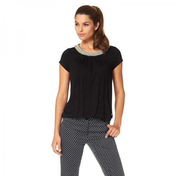 4348acf8a3905 T-shirt manches courtes col rond orné de perles femme Bruno Banani - Noir  Bruno
