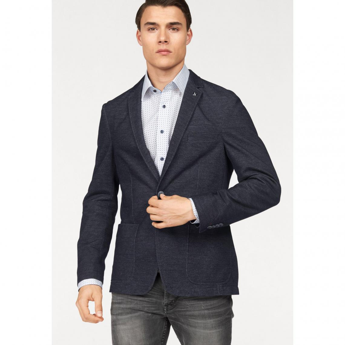 Veste de costume en jersey aspect chiné homme Bruno Banani - Bleu Bruno  Banani Homme 2a8fc103144
