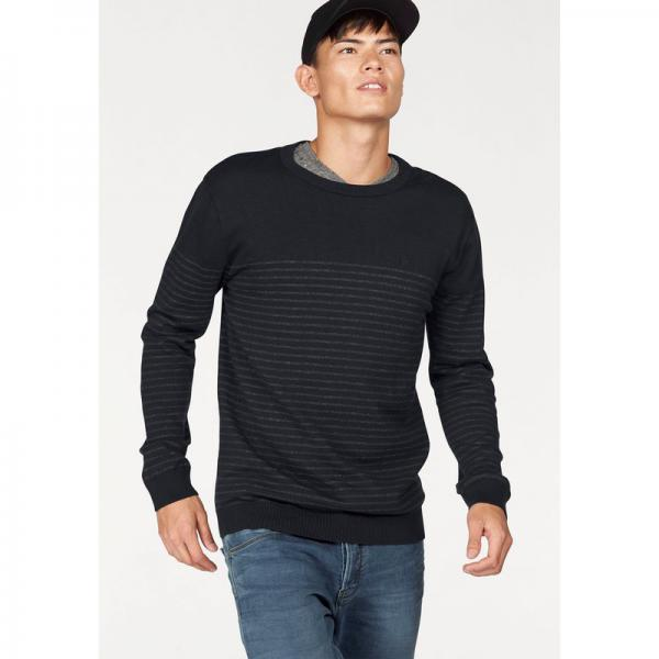 Pull rayé col rond en maille chinée homme Bruno Banani - Bleu Bruno Banani Homme