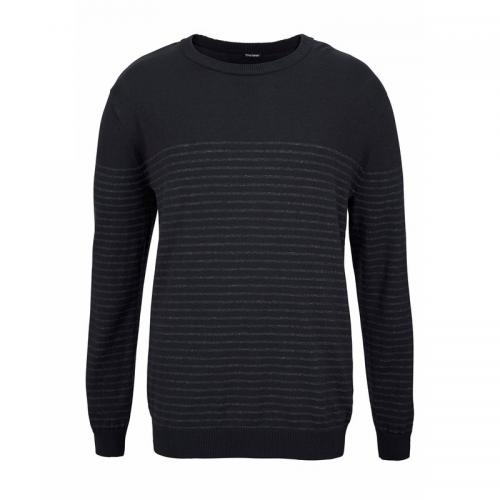 Pull rayé col rond en maille chinée homme Bruno Banani - Bleu Bruno Banani