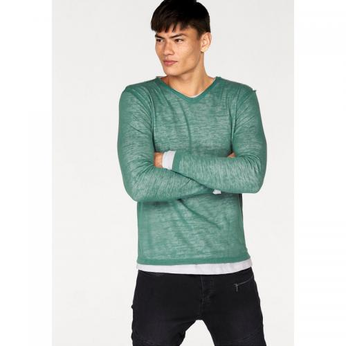 Bruno Banani - Pull 2 en 1 manches longues maille flammée homme Bruno Banani - Vert - Pull / Gilet / Sweatshirt