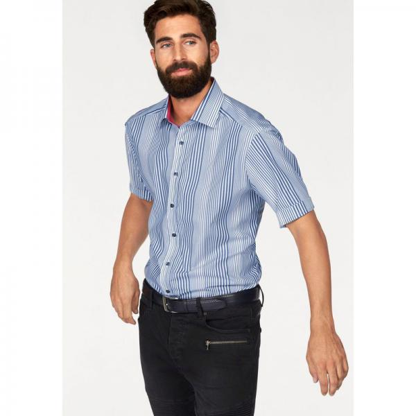Chemise rayée manches courtes coton homme Bruno Banani - Bleu Bruno Banani Homme