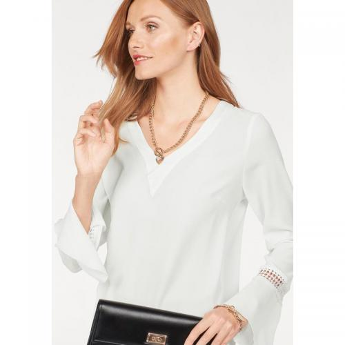 Bruno Banani - Blouse col V manches longues à volants femme Bruno Banani - Blanc - Blouse, chemise