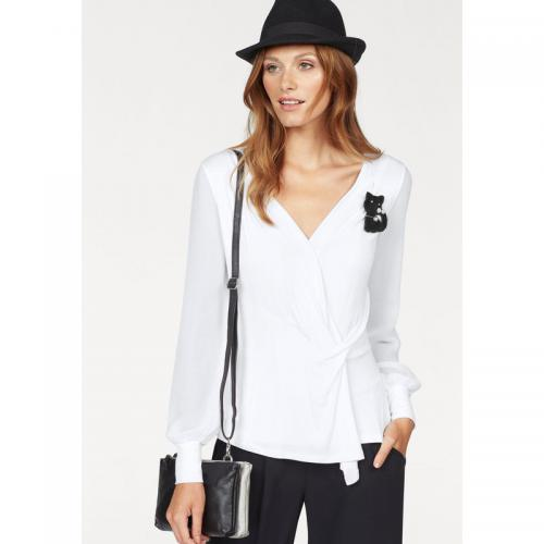 Bruno Banani - T-shirt style cache-cœur col V manches longues femme Bruno Banani - Blanc - Promotions 3 SUISSES