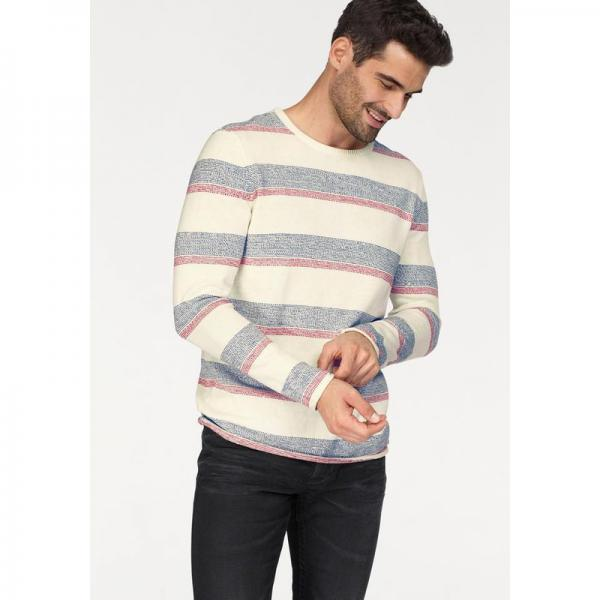 Pull rayé col rond homme Bruno Banani - Blanc Cassé Bruno Banani Homme
