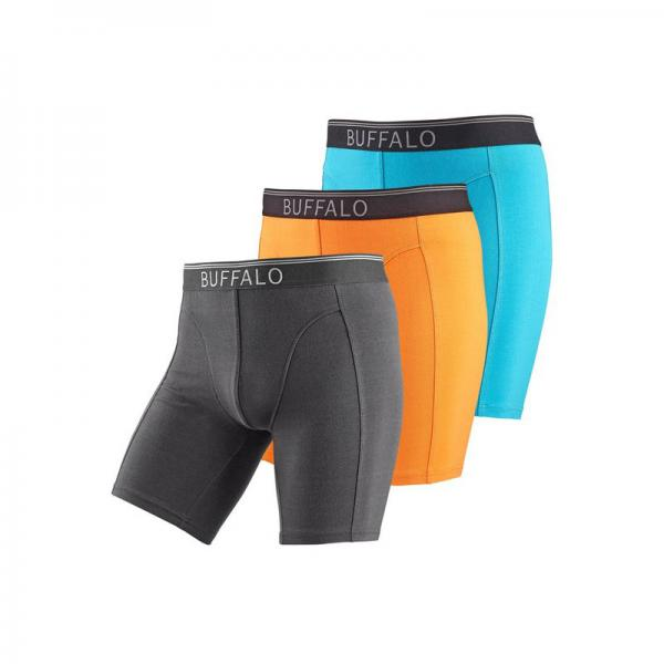 Lot de 3 boxers longs coton stretch homme Buffalo - Turquoise - Orange - Noir Buffalo Homme