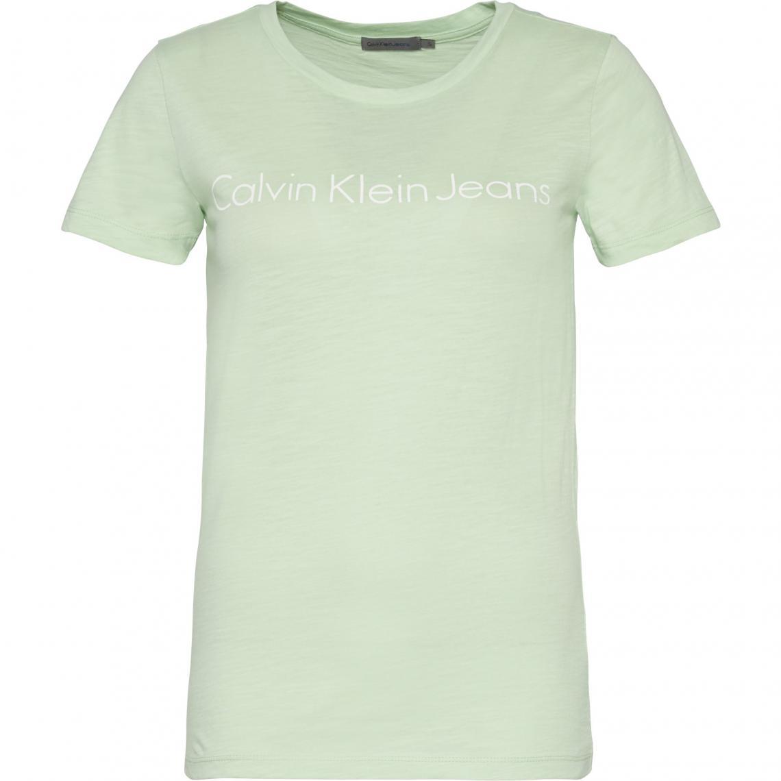 Tee-shirt manches courtes femme Calvin Klein - Vert Calvin Klein Femme 4d0008f58a0