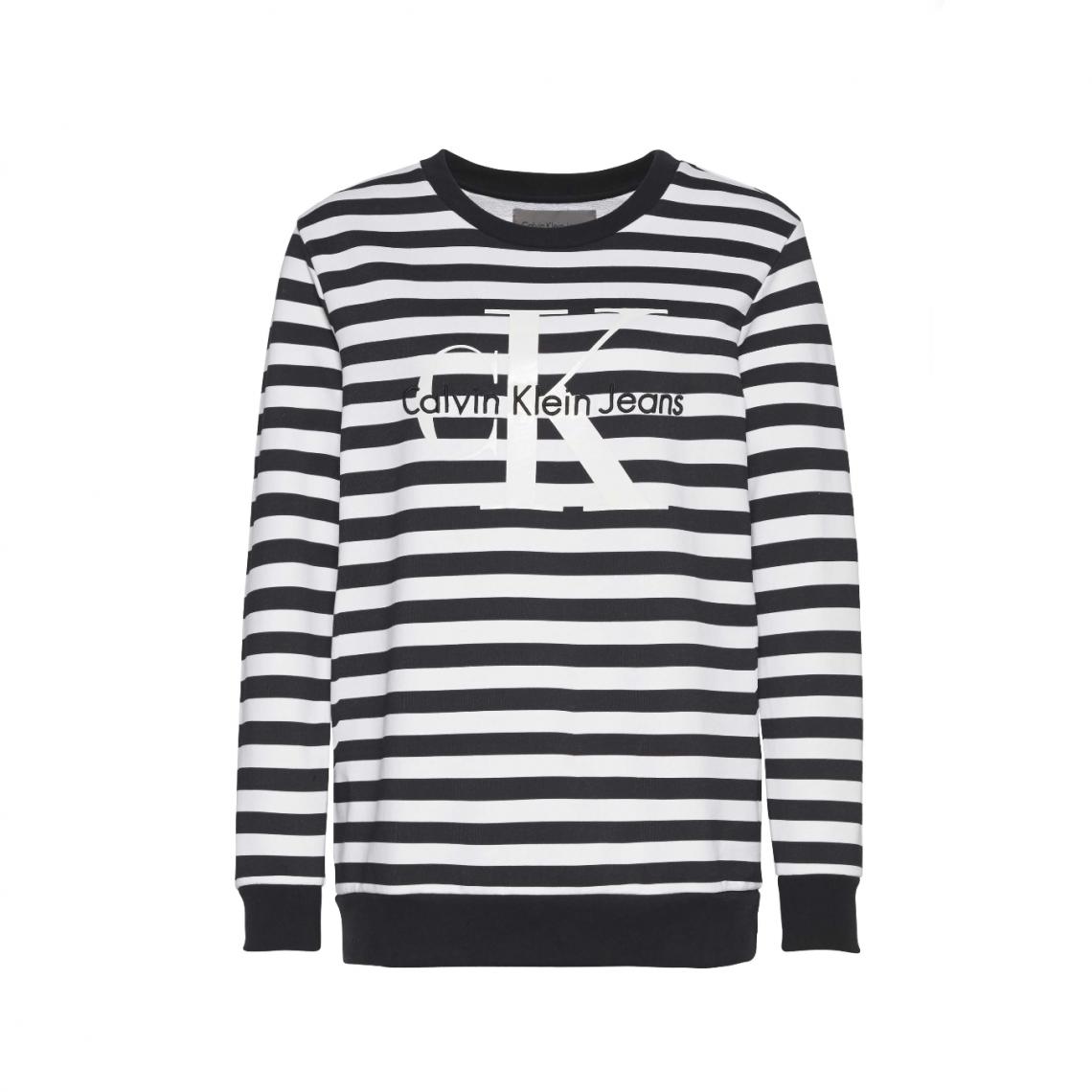 best deals on sale usa online finest selection Sweat rayé col rond femme Calvin Klein - Blanc - Noir