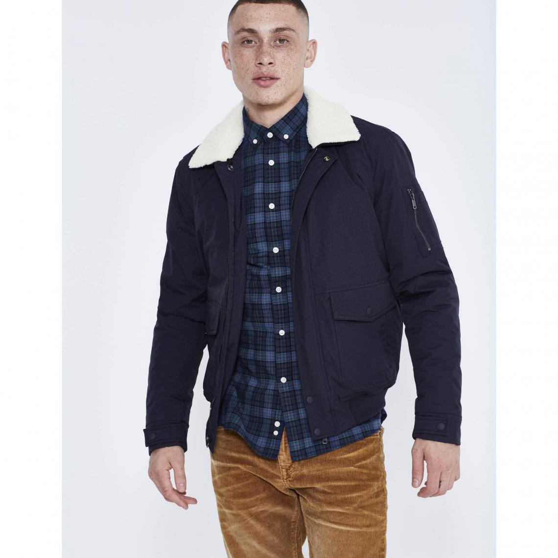 acheter pas cher bonne qualité invaincu x Blouson nylon avec col sherpa homme Celio - Bleu Marine | 3 ...