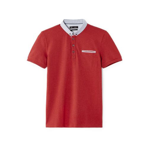 4a68b9ca5fa Celio - Polo manches courtes col chambray Celio - Rouge - Polos homme