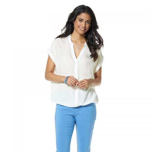 Chillytime - Blouse col V manches courtes boutonnée femme Chillytime - Blanc - Chillytime