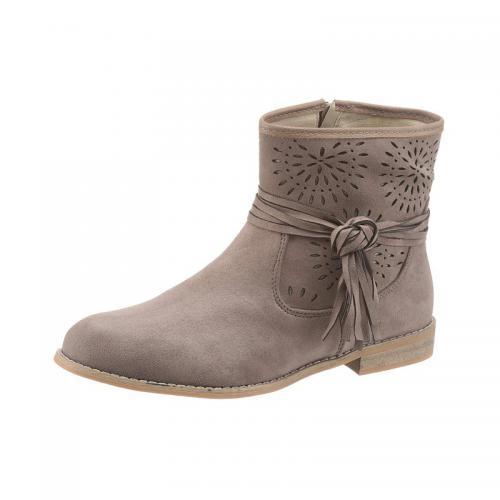2583c70eaa4 City Walk - Bottines avec perforations talon plat femme City Walk - Taupe - Boots  femme