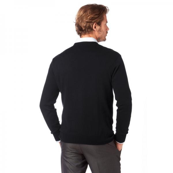 Pull col V manches longues coton et soie homme Class International - Noir Class International