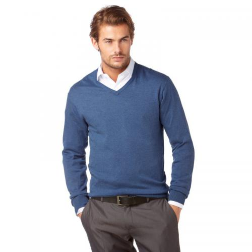 Class International - Pull col V manches longues coton et soie homme Class International - Bleu