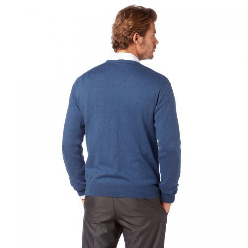 Pull col V manches longues coton et soie homme Class International - Bleu Pull