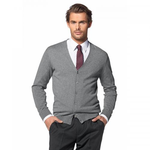 Class International - Cardigan col V coton et soie homme Class International - Gris Clair