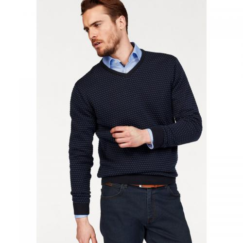 Class International - Pull col V manches longues homme Class International - Pointillé Marine
