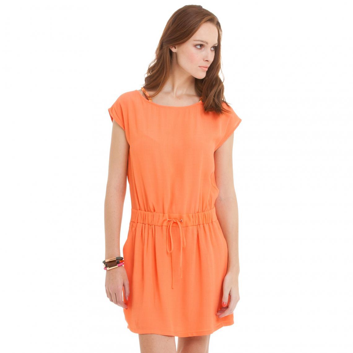 1604861a995 Robe courte à bretelles tressées fluo femme Color Block - Orange Color  Block Femme