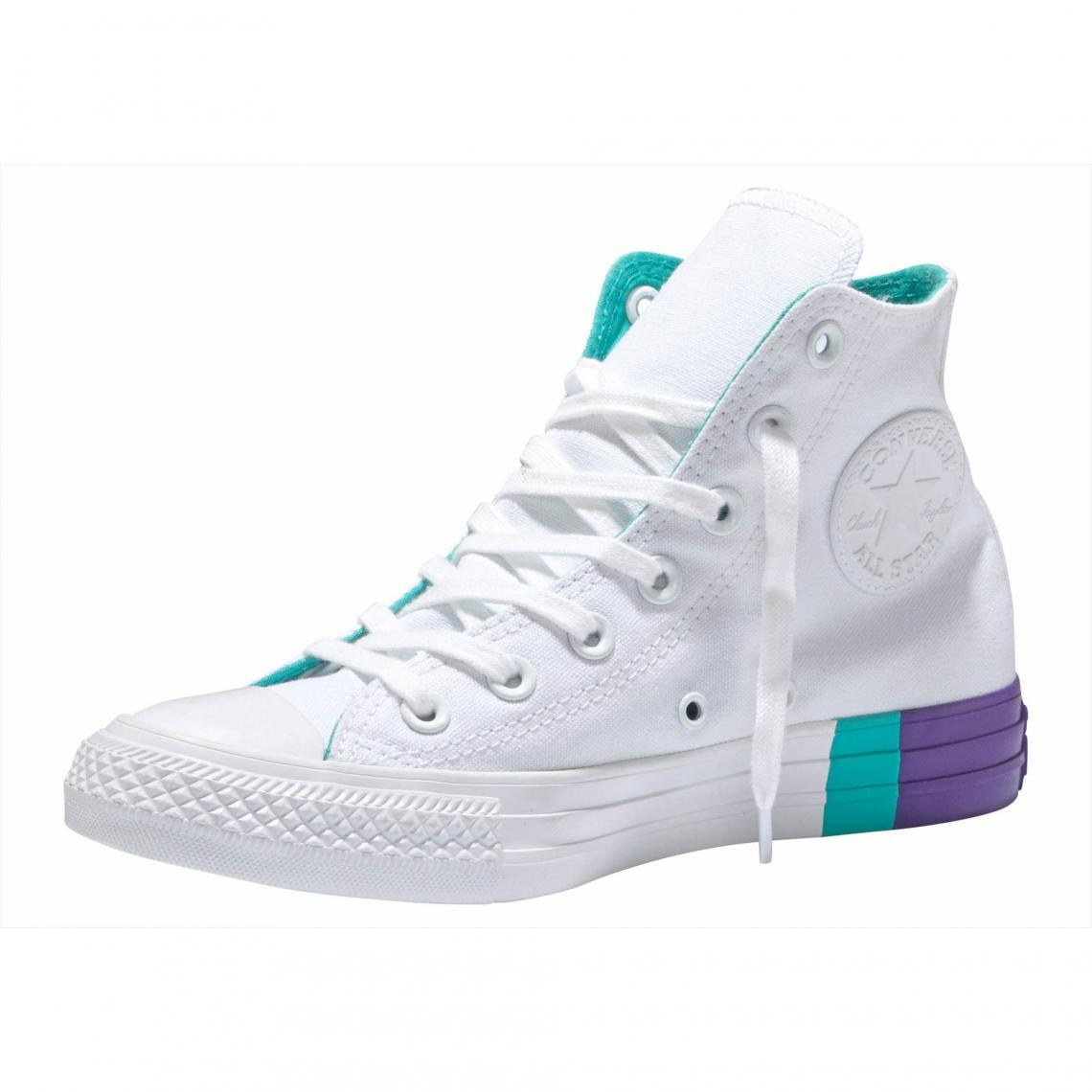d919bc3058aa3 reduced baskets montantes femme converse chuck taylor all star hi  colorblock blanc violet converse homme f8064