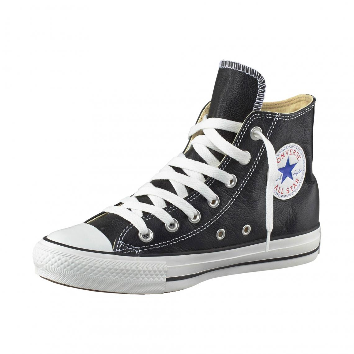 05530e6dc0abb Baskets montantes Converse All Star Basic Leather cuir homme - Noir  Converse Homme