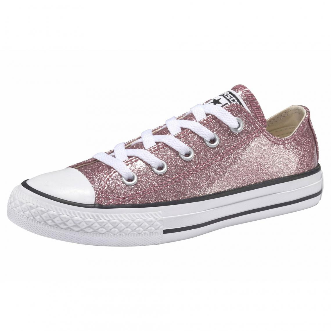 Baskets en toile effet scintillant fille Chuck Taylor All Star Ox Converse Rose
