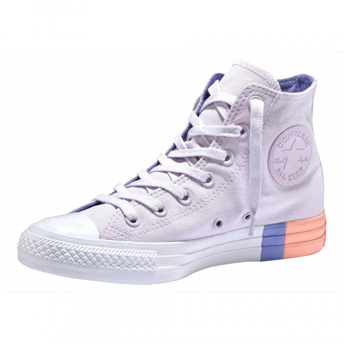 Baskets montantes femme Converse Chuck Taylor All Star Hi Colorblock -  violet clair Converse Homme bc74c494be51